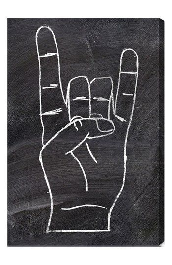 """Free shipping and returns on Oliver Gal 'Rock On' Wall Art at Nordstrom.com. A cool canvas printed with the universal hand sign for """"Rock on"""" is hand stretched over a sustainably harvested, FSC-certified wood frame. A limited open edition with a certificate of authenticity by the artist, it comes ready to hang with all hardware included."""