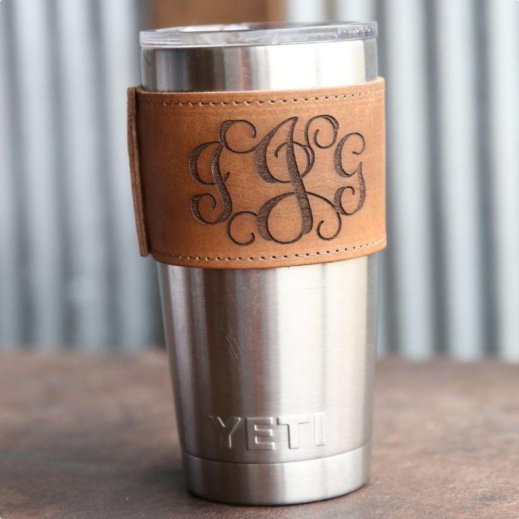 Yeti Tumbler in style with our Rocket City Yeti Wrap with Handle! It is handmade right here in our shop with the finest of Full Grain American leathers