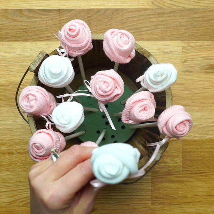 Baby Sock Flower Bouquet Is A Cute And Unique Gift For All Those Baby Showers!
