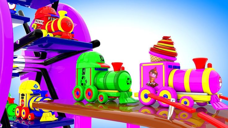 Street Vehicles Toy Trains Spiral Parking - Learning Colors for Children...