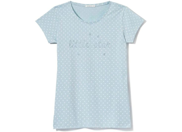 Koszulka ozdobiona srebrzystym, brokatowym nadrukiem.