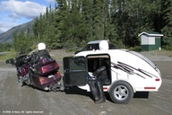 Motorcycle and smallest trailer we have ever seen on the road.