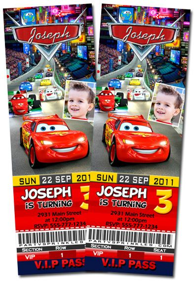 T9 Cars Ticket-disney cars, Ticket invitations, boy party, party ideas, party favors and labels, fiesta de Cars, invitacion cars