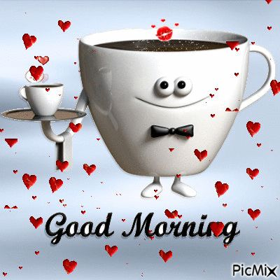 Good Morning Coffee Gif With Hearts