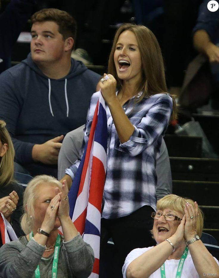 Kim Sears lors de la demi-finale de Coupe Davis entre la Grande-Bretagne et l'Australie, à l'Emirates Arena de Glasgow, le 19 septembre 2015