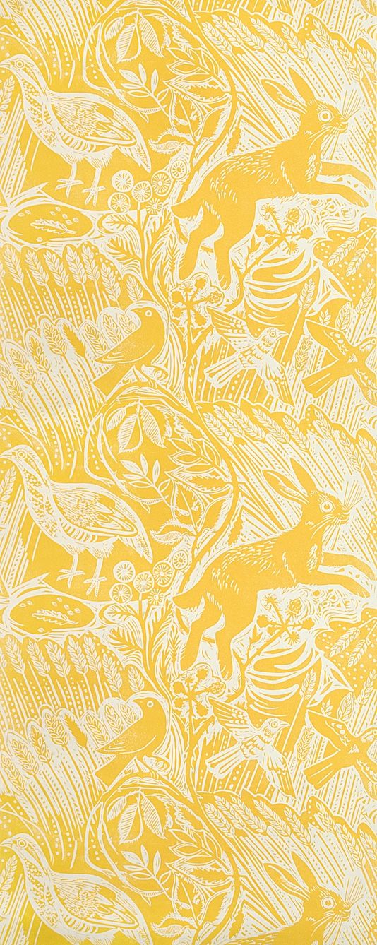 Harvest Hare Wallpaper - Mark Hearld's rabbit and bird design in Corn Yellow.