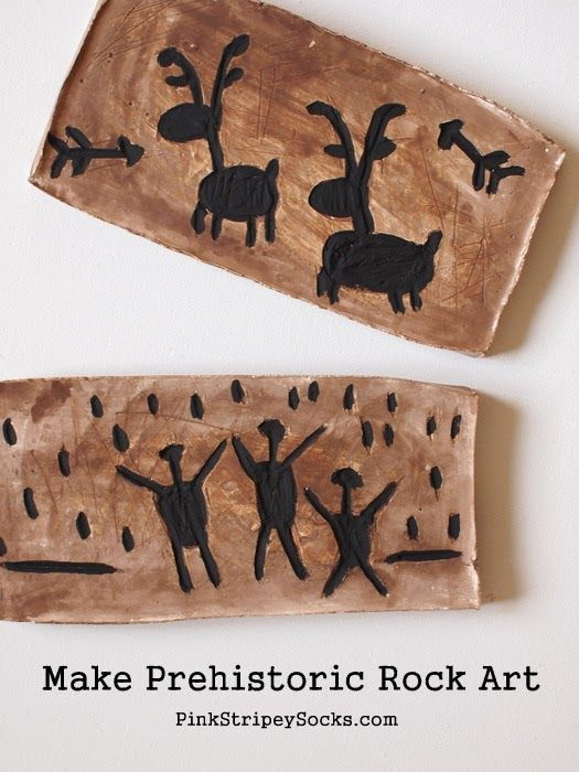 Make a prehistoric rock art with kids! Carve and Paint your own rock art! -Repinned by Totetude.com