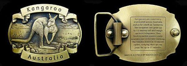 Australia Kangaroo Belt Buckle - Custom made, brass belt buckle featuring a 3 dimensional Kangaroo with inscription about the Australian Kangaroo on rear.