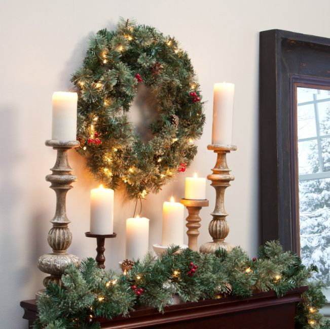 Christmas Door Wreath Pre Lit With Berries Pine Cones Decoration Ornaments 24 in #Unbranded