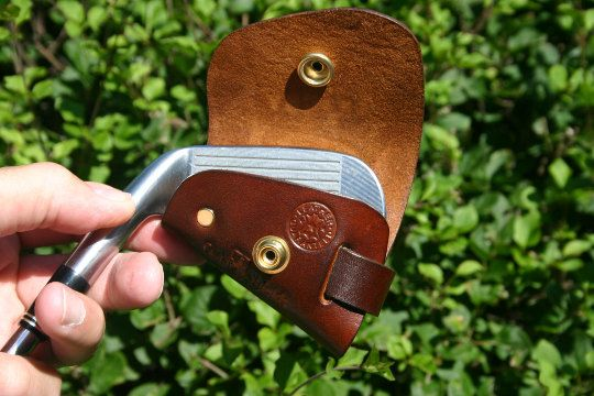 REAL LEATHER GOLF IRON HEAD COVERS (MADE TO ORDER) $16.00 per cover. ie: a set of 7 covers=$112.00 All my products are made from premium natural full