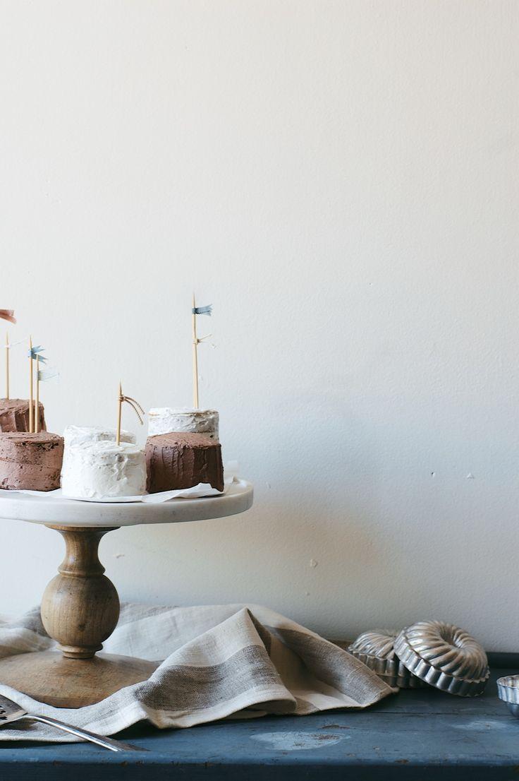 Mini Mocha + Vanilla Bean Layer Cakes | Dolly and Oatmeal