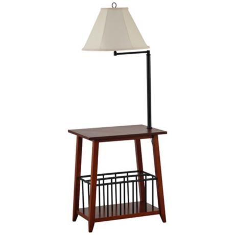 Magazine Rack Table Lamp Combination Woodworking