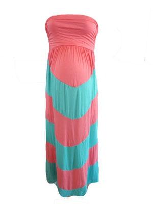 Chevron Dress in Aqua/Salmon by P Inc Maternity - Maternity Clothing - Flybelly Maternity Clothing
