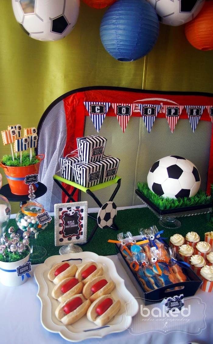 Soccer themed birthday party with Lots of Awesome Ideas via Kara's Party Ideas Kara Allen KarasPartyIdeas.com #soccerparty #soccercake #spor...