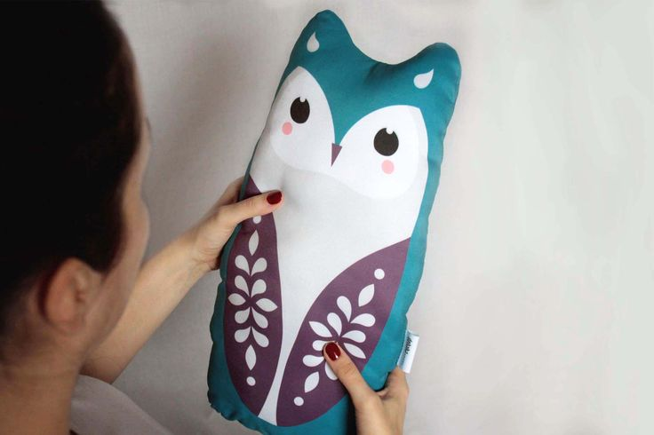 OWL big, soft stuffed cushion #cushion #pillow #toy #baby #kidsroom #owl #illustration #design #cute #animal #design #nursery