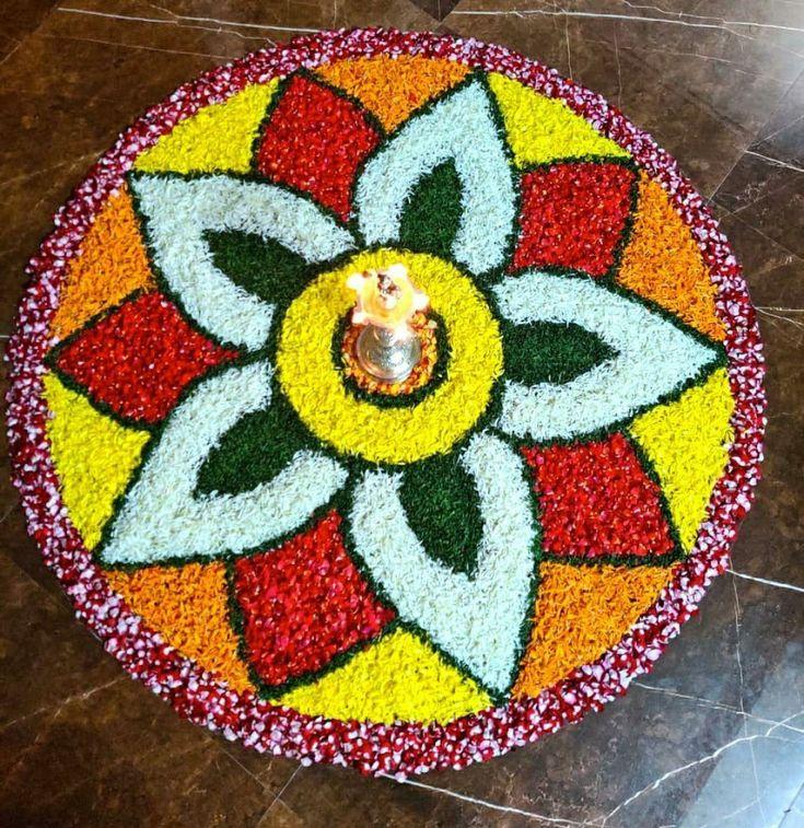 Pin by ST on Flower rangoli Flower rangoli, Ganesh art