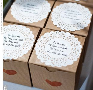 Guests took home macarons packaged in brown paper boxes topped with white doilies. The couple's fingerprints, shaped to form 