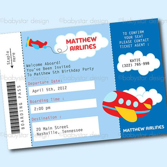 Airplane Ticket Birthday Invitation by partyheaven on Etsy, $10.00