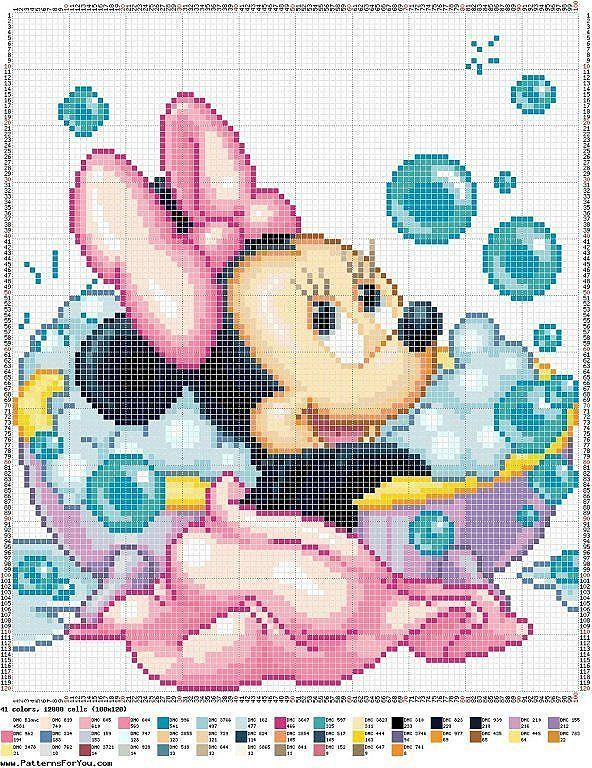 Cross-stitch Disney Minnie Mouse Bath time