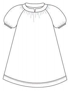 Rosamarie 2-14år Kjole/skjorte m/kort ærme Rosamarie 92 (104) 116 (128) 140 (152) 164  Beskrivelse Sød model med raglansnit og halskant med en lille slids.  Modellen kan både syes som bluse, der har hoftelængde, eller kjole til knæene. Model A er i bluse med kort ærme Model B er en kjole med 3/4 ærme Model C er en kjole med langt ærme  Det skal du bruge til Model A § 95 (105) 115 (120) 130 (155) 170 cm stof, brd. 140 cm § 50 (50) 60 (60) 60 (60) 60 cm foldeelastik § 35 cm vlieseline, brd. 90…