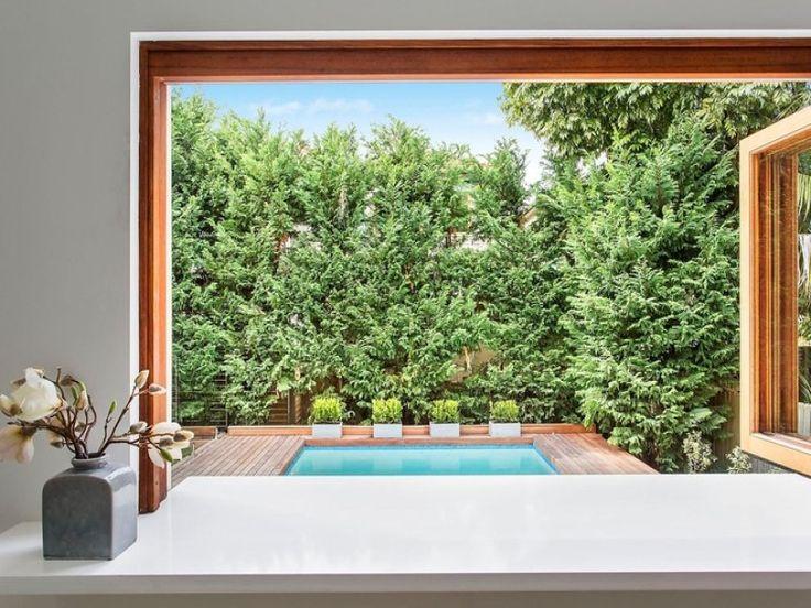 Kitchen servery window to outside deck. Blandford Avenue, Bronte, NSW 2024