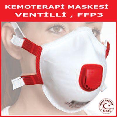 Kemoterapi Maskesi: FFP3 / N99 Maske  FFP3 koruma sınıfı, 30 X OEL koruma değeri  EN 149:2001 + A1:2009 Standardına uygun ve CE sertifikalı Kemoterapi Maskesi  http://www.vitaferre.com/kemoterapi_maskesi/