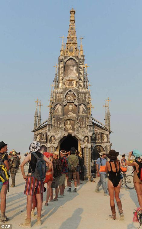 ❥ Burning Man Festival~ church of the Illuminati, eye of horus, fallen angels, demons, antichrist