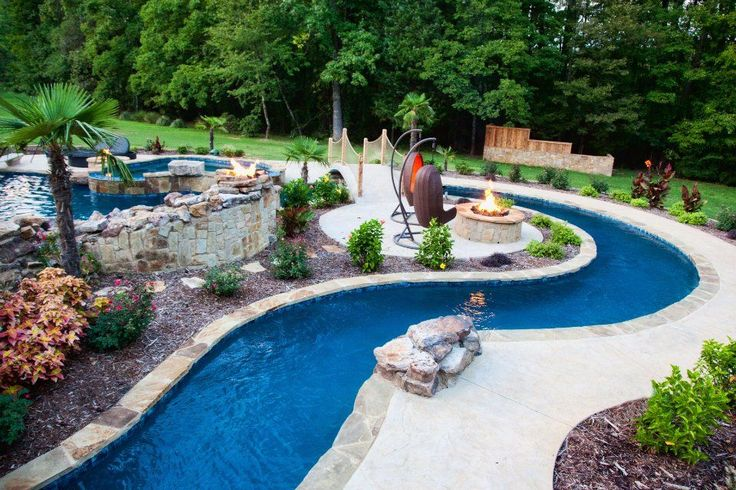 Garden and Patio, Backyard Lazy River Pool Design With Stone Liner And Concrete Floor Tiles Surrounded With Garden And Outdoor Hanging Chairs With Stand In Front Of Fireplace Ideas ~ Backyard Lazy River