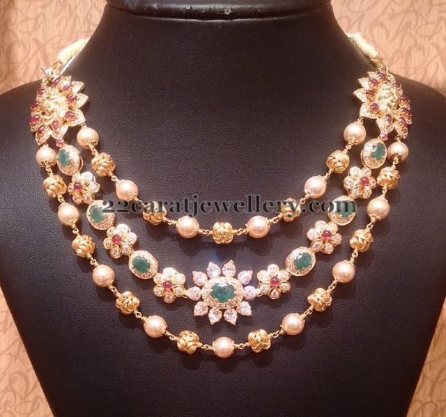 Jewellery Designs: Triple Layer Pearl and CZ Necklace
