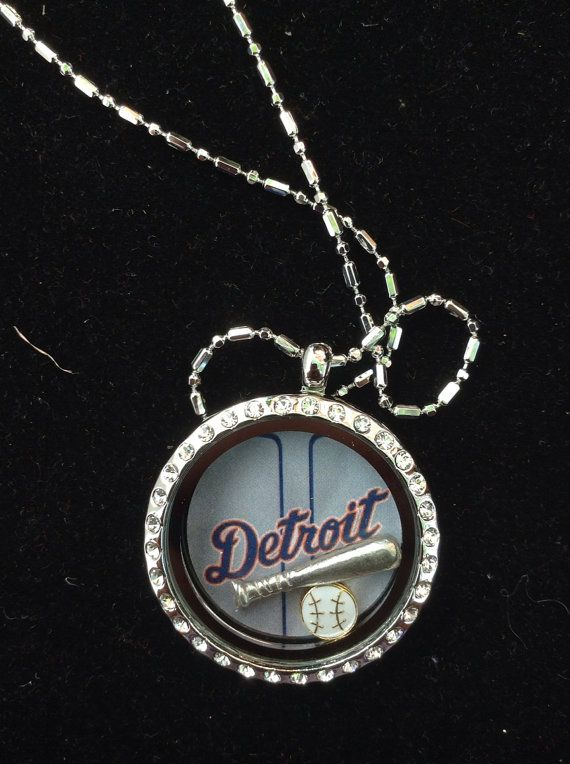 Detroit Tigers locket with bat and Ball on Etsy, $21.00