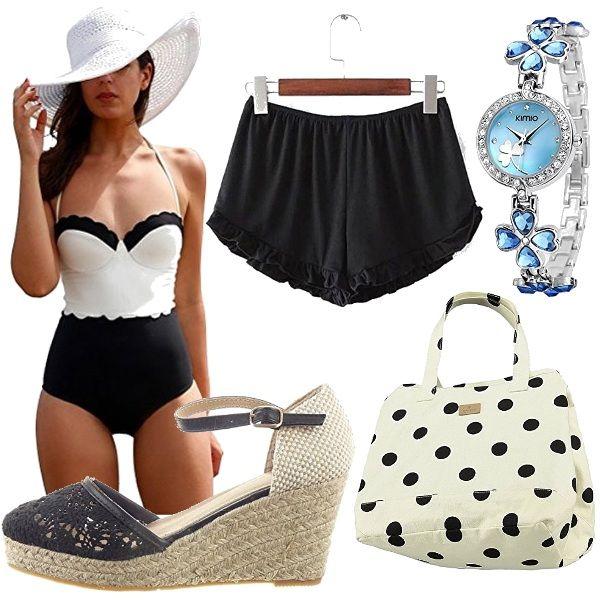 Outfit per la spiaggia veramente economico, ma d'effetto!! costume intero bianco e nero, shorts neri, espadrillas in pizzo nero, borsetta bianca a pois neri e per concludere orologio a braccialetto azzurro con strass.