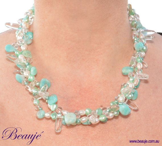 Aqua necklace Jewellery Semi-precious necklace by BeaujeJewellery