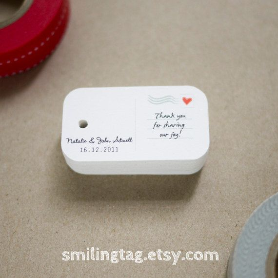 Mini Postcard Personalized Gift Tags  Wedding Favor by SmilingTag, $15.00