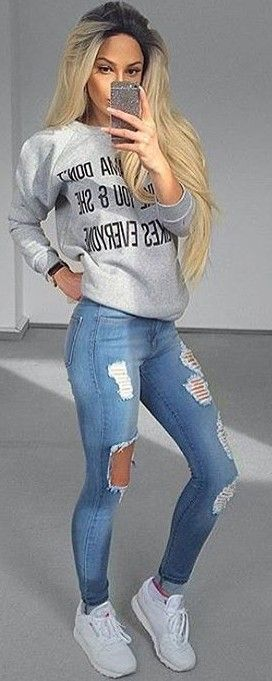 #summer #trendy #outfits  |  Graphic Sweat + Ripped Jeans