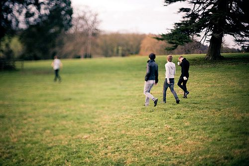 | Boys playing on the lawn