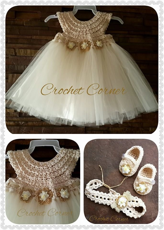 crochet baby dress, headband and shoes by crochet corner