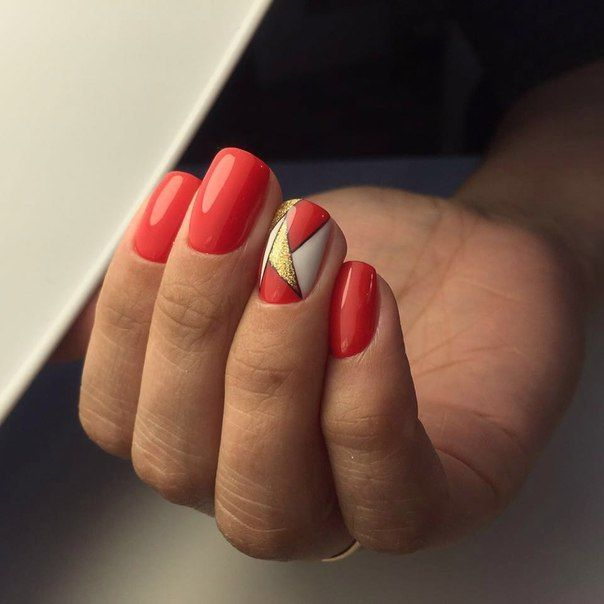 For women who prefers a manicure in red tones, this option og the nail design will be suitable. Nails can ...
