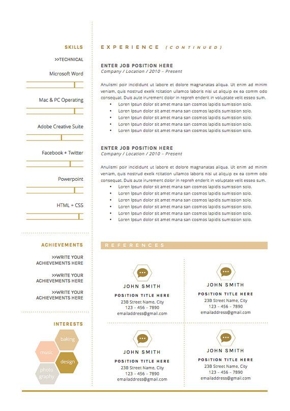 3page resume cv template cover letter for von theresumeboutique