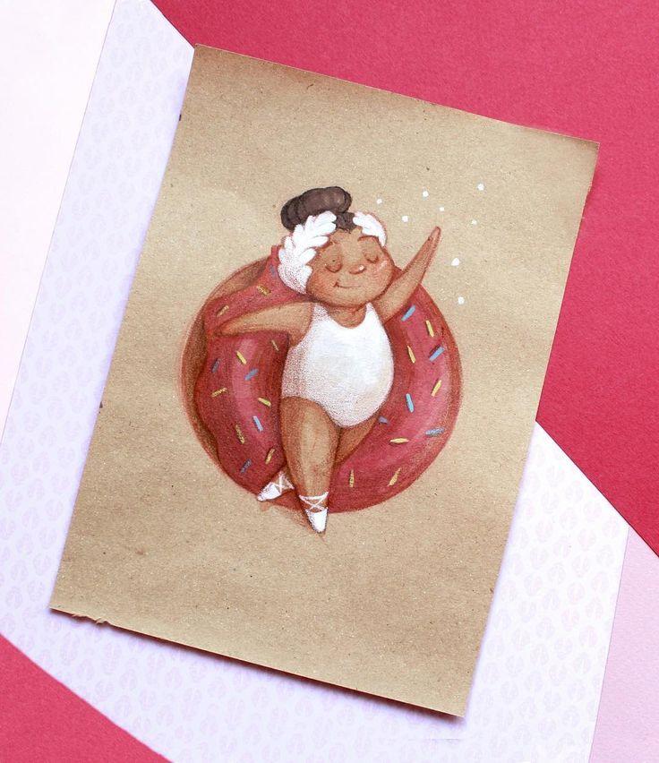 Милой балеринки с пончиком не бывает много) #illustration #art #drawing…
