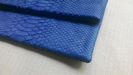 Blue Marine Fold Over Python Snakeskin Clutch Envelope by amezti