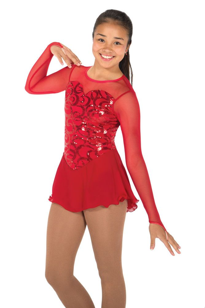 COMPETITION SKATING DRESS 628 RED RITZ JERRY MADE ORDER 3 WEEKS FABRICATION