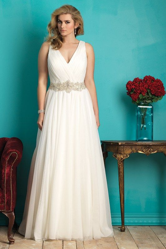 W362 Allure Women Bridal Gown - For this bridal gown we draped airy tulle throughout for a soft, graceful effect. The beaded waist adds a romantic flourish.