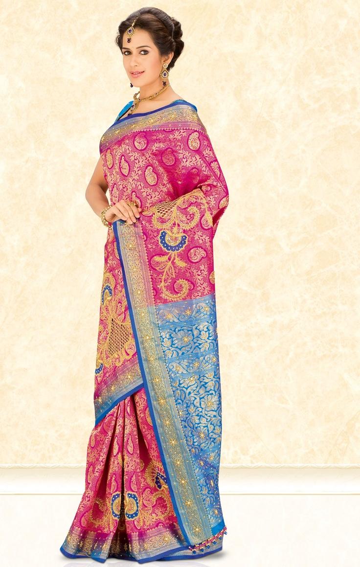 Vibrant pink and blue pattu saree <3