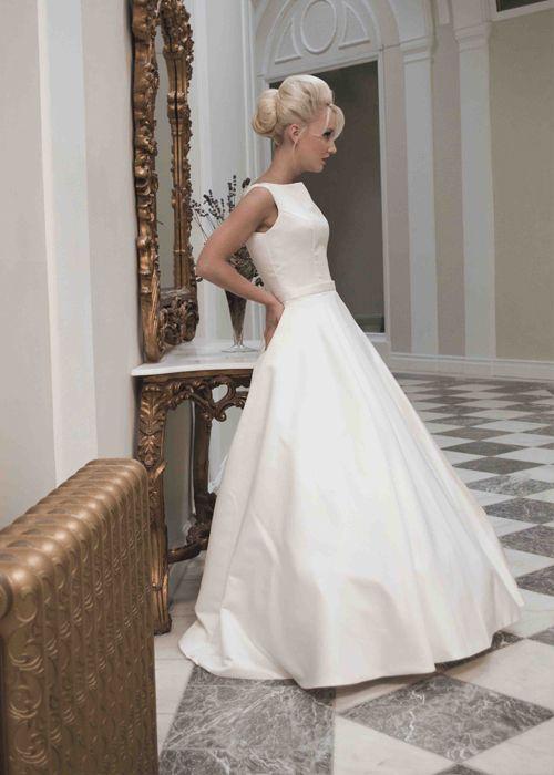 rose sleeveless full satin inspired ball gown wedding dress