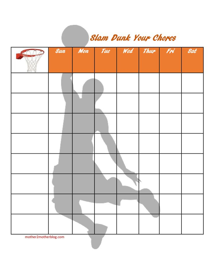 Basketball Chore Chart Kids Coloring