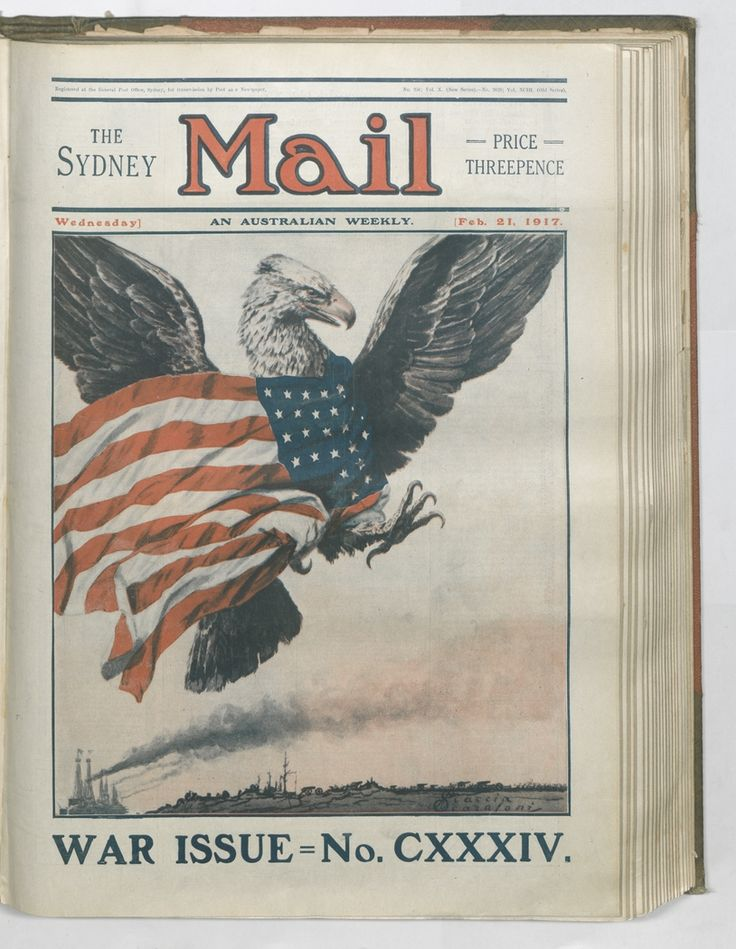The Americans enter the war. Scaccia Scarafoni's front cover of the Sydney Mail, 21 February 1917. To order a fine art print of this image, please call the Library Shop on 61 2 9273 1611, quoting digital order number a9609134. http://acms.sl.nsw.gov.au/album/albumView.aspx?itemID=1064155&acmsid=0, image no. 134.