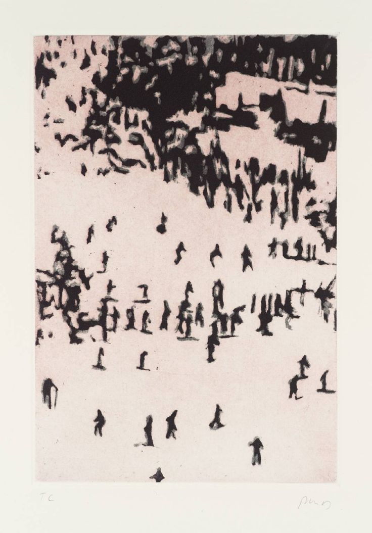 Peter Doig ~ Ski Jacket, etching on paper, approx. approx 8 x 6 inches, from the 'Ten Etchings' print portfolio (1996). It was made using two etching plates and the techniques of sugar lift and aquatint. From tate.org.uk
