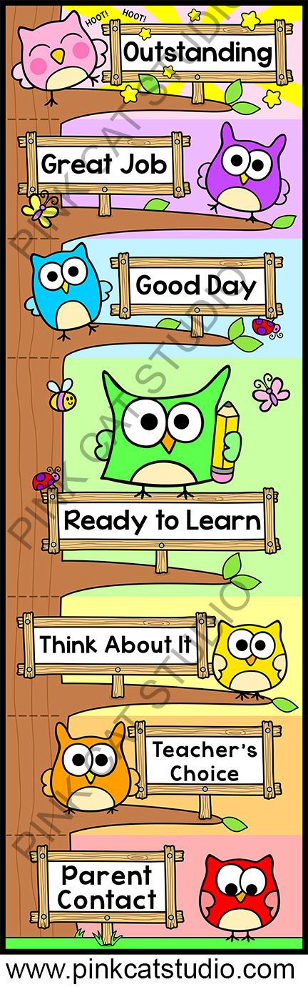 Editable Owl Theme Behavior Clip Chart: This adorable owl theme behavior clip chart will look fantastic in your classroom! The fun tree design will spark your students' natural desire to climb. Encourage your students to climb to the top of the owl tree by making good choices. By Pink Cat Studio