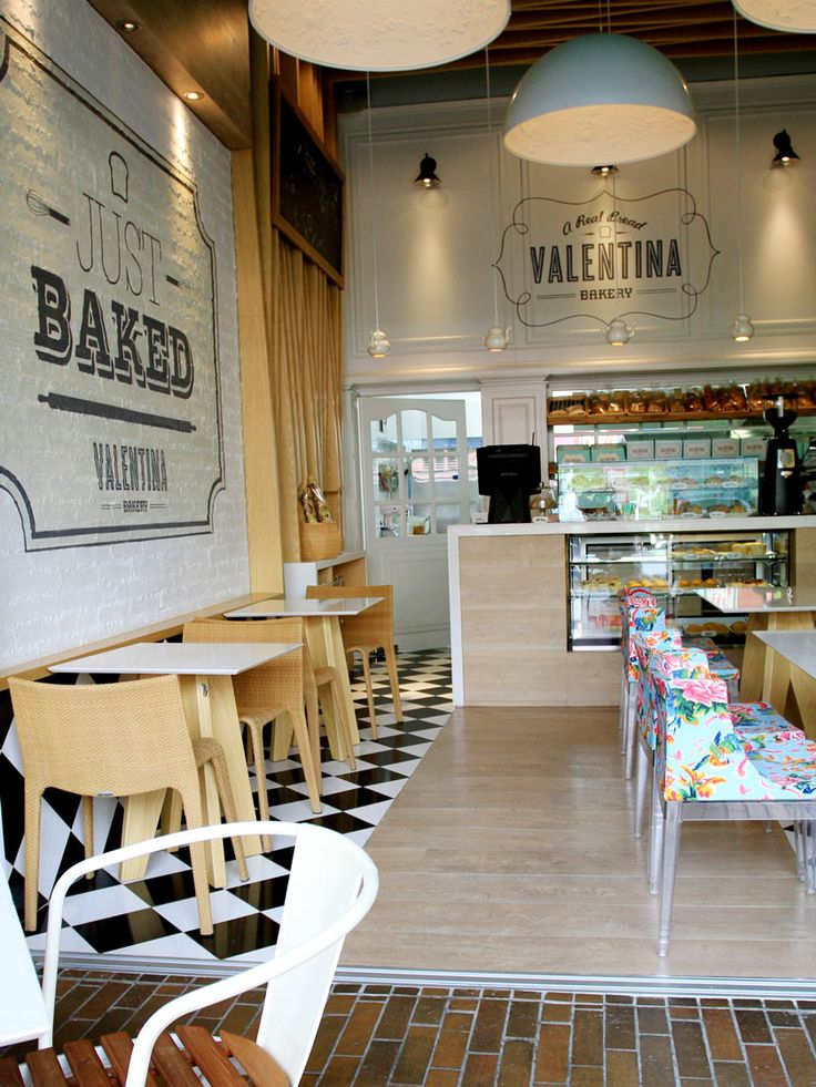 Interesting Tile Application Floor To Wall + Sign Painted On Brick  Valentina Bakery Medellin.