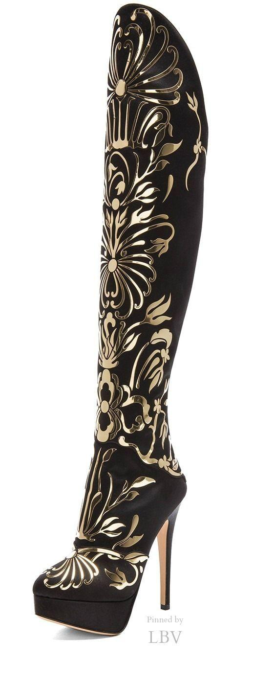 Charlotte Olympia Prosperity Silk Satin Boots in Onyx by Eva